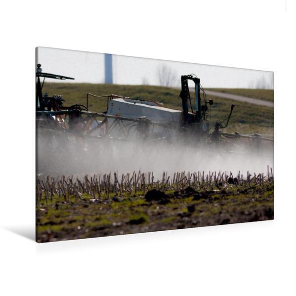 Premium Textil-Leinwand 120 cm x 80 cm quer, Feldspritze mit Flüßigdünger im Einsatz   Wandbild, Bild auf Keilrahmen, Fertigbild auf echter Leinwand, Leinwanddruck - Coverbild