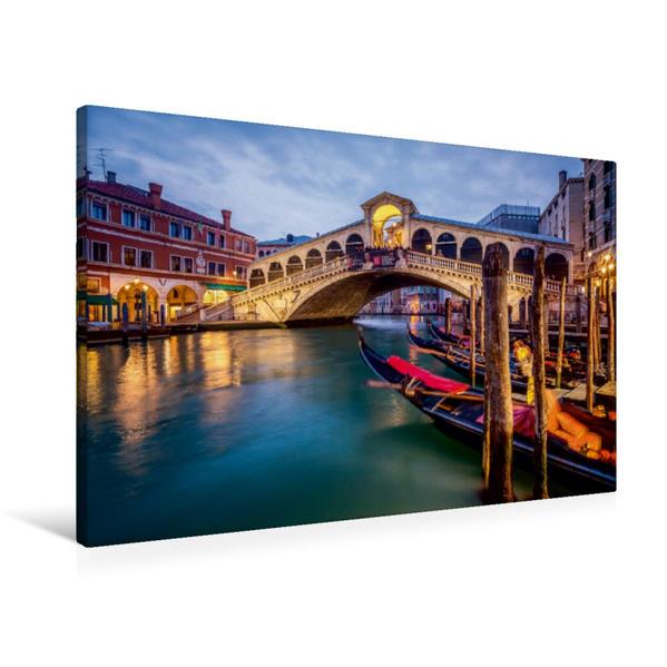 Premium Textil-Leinwand 90 cm x 60 cm quer, Rialto Brücke in Venedig, Italien | Wandbild, Bild auf Keilrahmen, Fertigbild auf echter Leinwand, Leinwanddruck - Coverbild