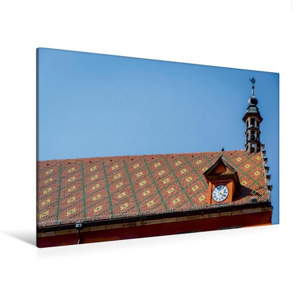 Premium Textil-Leinwand 120 cm x 80 cm quer, kunstvolle Dachdeckerei in Rothenburg | Wandbild, Bild auf Keilrahmen, Fertigbild auf echter Leinwand, Leinwanddruck - Coverbild