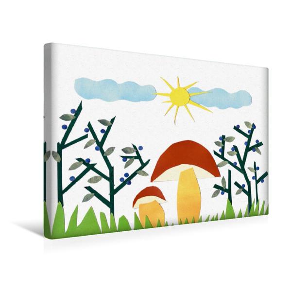 Premium Textil-Leinwand 45 cm x 30 cm quer, Pilze sammeln im Herbst. Reife Blaubeeren   Wandbild, Bild auf Keilrahmen, Fertigbild auf echter Leinwand, Leinwanddruck - Coverbild