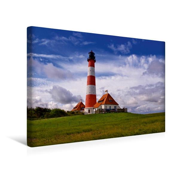 Premium Textil-Leinwand 45 cm x 30 cm quer, Westerhever Leuchtturm | Wandbild, Bild auf Keilrahmen, Fertigbild auf echter Leinwand, Leinwanddruck - Coverbild
