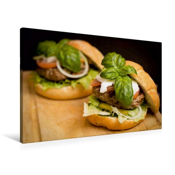 Premium Textil-Leinwand 90 cm x 60 cm quer, Burger im Doppelpack | Wandbild, Bild auf Keilrahmen, Fertigbild auf echter Leinwand, Leinwanddruck - Coverbild