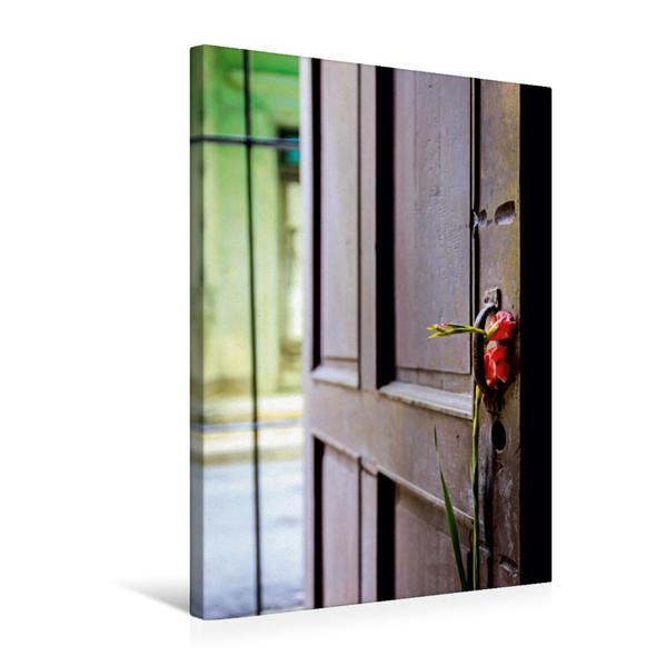 Premium Textil-Leinwand 50 cm x 75 cm hoch, Blume an der Tür einer Casa Particulare | Wandbild, Bild auf Keilrahmen, Fertigbild auf echter Leinwand, Leinwanddruck - Coverbild