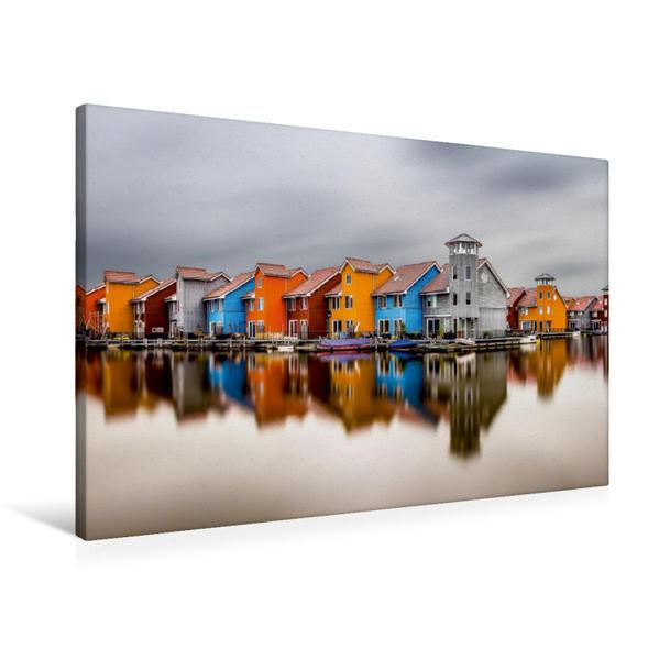 Premium Textil-Leinwand 90 cm x 60 cm quer, Reitdiephaven, Niederlande | Wandbild, Bild auf Keilrahmen, Fertigbild auf echter Leinwand, Leinwanddruck - Coverbild
