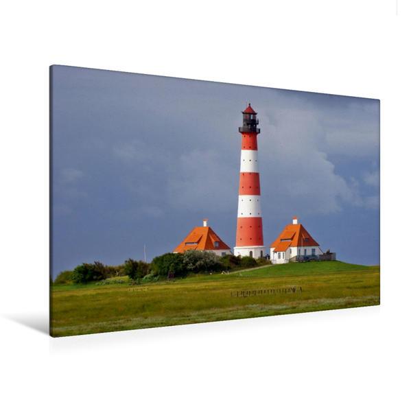 Premium Textil-Leinwand 120 cm x 80 cm quer, Westerhever Leuchtturm | Wandbild, Bild auf Keilrahmen, Fertigbild auf echter Leinwand, Leinwanddruck - Coverbild