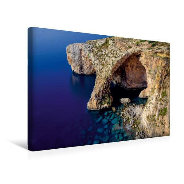 Premium Textil-Leinwand 45 cm x 30 cm quer, Blaue Grotte, Malta   Wandbild, Bild auf Keilrahmen, Fertigbild auf echter Leinwand, Leinwanddruck - Coverbild