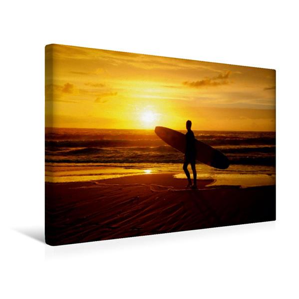 Premium Textil-Leinwand 45 cm x 30 cm quer, Surfer im Sonnenuntergang | Wandbild, Bild auf Keilrahmen, Fertigbild auf echter Leinwand, Leinwanddruck - Coverbild