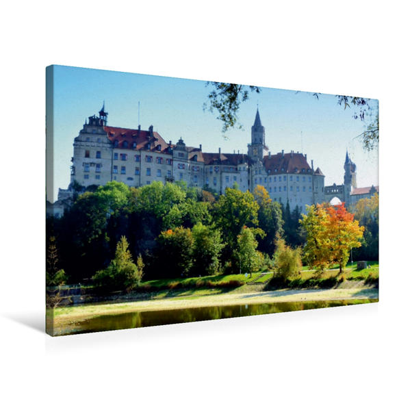 Premium Textil-Leinwand 75 cm x 50 cm quer, Schloss Sigmaringen | Wandbild, Bild auf Keilrahmen, Fertigbild auf echter Leinwand, Leinwanddruck - Coverbild