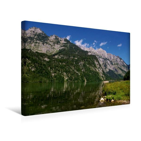 Premium Textil-Leinwand 45 cm x 30 cm quer, Blick über den See | Wandbild, Bild auf Keilrahmen, Fertigbild auf echter Leinwand, Leinwanddruck - Coverbild