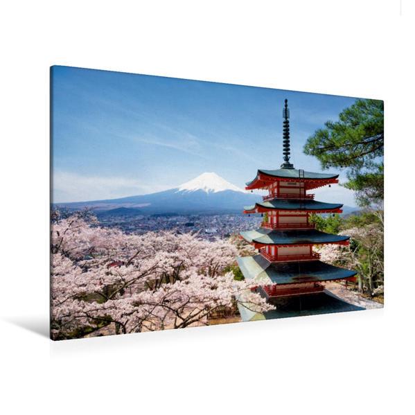 Premium Textil-Leinwand 120 cm x 80 cm quer, Berg Fuji mit Chureito Pagode im Frühling   Wandbild, Bild auf Keilrahmen, Fertigbild auf echter Leinwand, Leinwanddruck - Coverbild