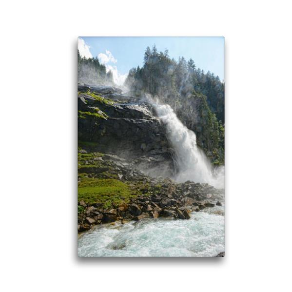 Premium Textil-Leinwand 30 cm x 45 cm hoch, Unterer Wasserfall. Krimmler Wasserfälle im Salzburger Land (Österreich) | Wandbild, Bild auf Keilrahmen, Fertigbild auf echter Leinwand, Leinwanddruck - Coverbild