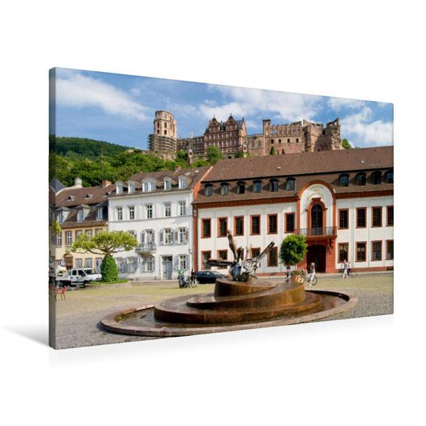Premium Textil-Leinwand 90 cm x 60 cm quer, Karlsplatz in Heidelberg | Wandbild, Bild auf Keilrahmen, Fertigbild auf echter Leinwand, Leinwanddruck - Coverbild
