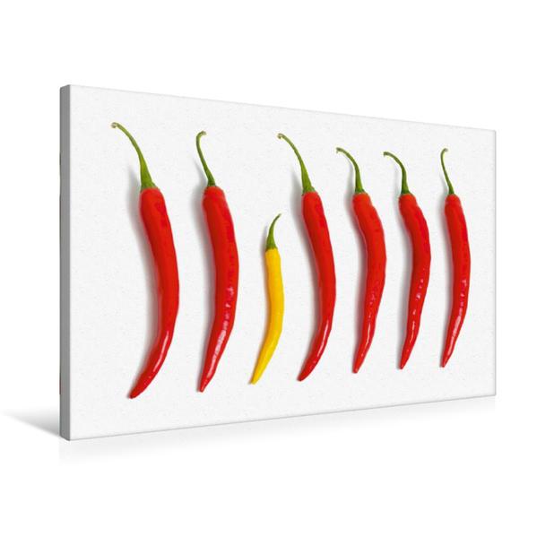 Premium Textil-Leinwand 75 cm x 50 cm quer, Scharfe Chili's | Wandbild, Bild auf Keilrahmen, Fertigbild auf echter Leinwand, Leinwanddruck - Coverbild