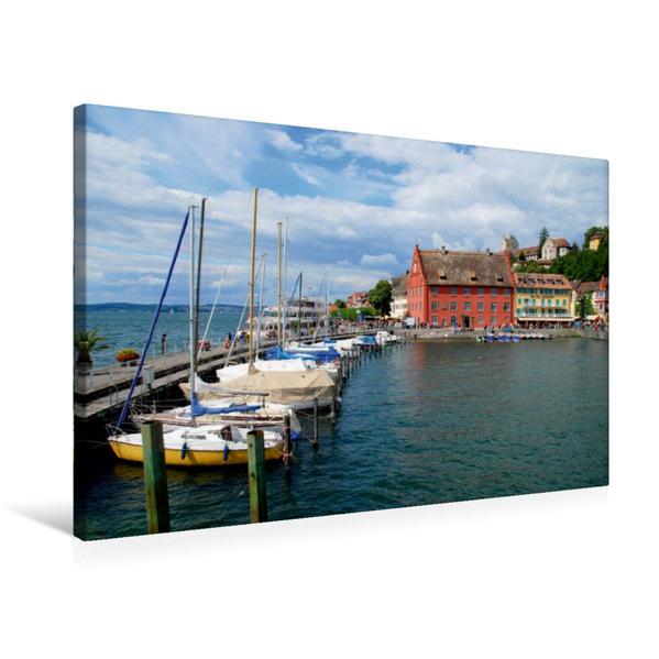 Premium Textil-Leinwand 75 cm x 50 cm quer, Hafeneinfahrt von Meersburg | Wandbild, Bild auf Keilrahmen, Fertigbild auf echter Leinwand, Leinwanddruck - Coverbild