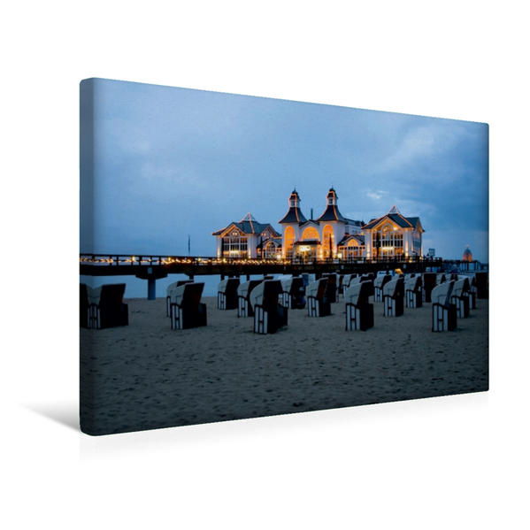 Premium Textil-Leinwand 45 cm x 30 cm quer, Seebrücke Sellin | Wandbild, Bild auf Keilrahmen, Fertigbild auf echter Leinwand, Leinwanddruck - Coverbild