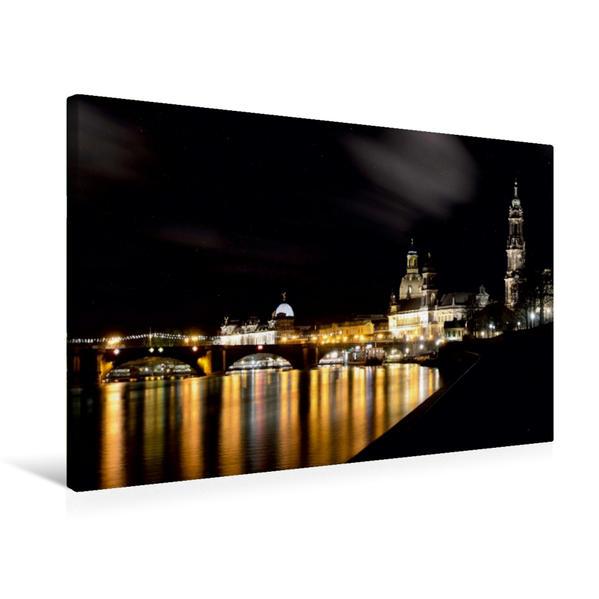 Premium Textil-Leinwand 75 cm x 50 cm quer, Dresden im Goldenen Glanz | Wandbild, Bild auf Keilrahmen, Fertigbild auf echter Leinwand, Leinwanddruck - Coverbild