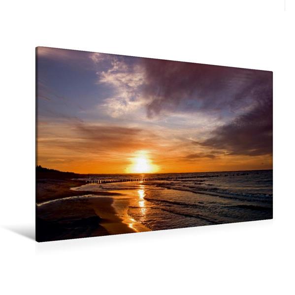 Premium Textil-Leinwand 120 cm x 80 cm quer, Sonnenuntergang am Oststrand Prerow   Wandbild, Bild auf Keilrahmen, Fertigbild auf echter Leinwand, Leinwanddruck - Coverbild
