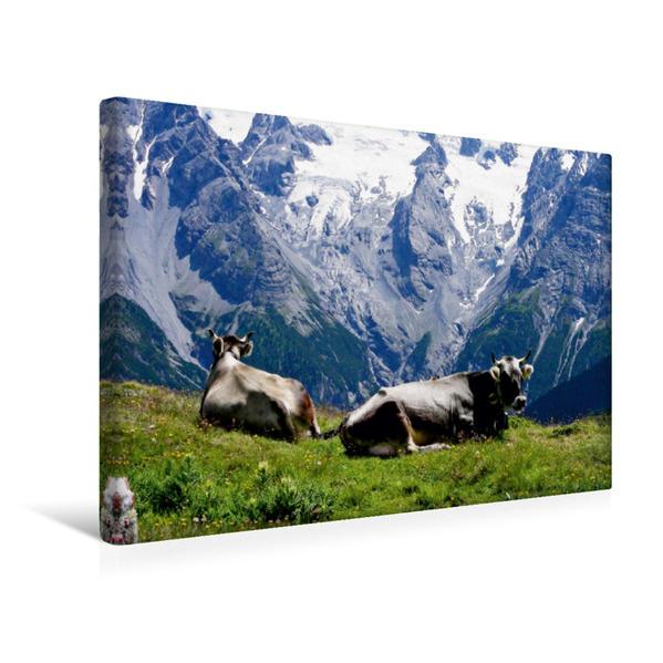 Premium Textil-Leinwand 45 cm x 30 cm quer, Kühe vor atemberaubender Kulisse | Wandbild, Bild auf Keilrahmen, Fertigbild auf echter Leinwand, Leinwanddruck - Coverbild