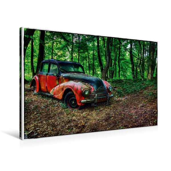 Premium Textil-Leinwand 90 cm x 60 cm quer, BMW - verlassener im Wald | Wandbild, Bild auf Keilrahmen, Fertigbild auf echter Leinwand, Leinwanddruck - Coverbild