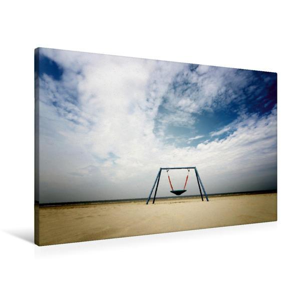 Premium Textil-Leinwand 90 cm x 60 cm quer, Schaukel am Meer / Langeoog | Wandbild, Bild auf Keilrahmen, Fertigbild auf echter Leinwand, Leinwanddruck - Coverbild