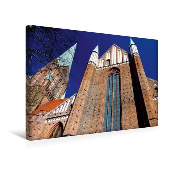Premium Textil-Leinwand 45 cm x 30 cm quer, Schweriner Dom | Wandbild, Bild auf Keilrahmen, Fertigbild auf echter Leinwand, Leinwanddruck - Coverbild