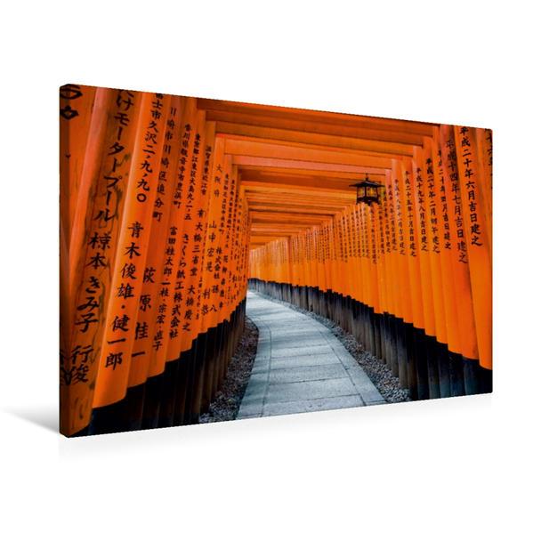 Premium Textil-Leinwand 75 cm x 50 cm quer, Fushimi Inari-Taisha in Kyoto, Japan | Wandbild, Bild auf Keilrahmen, Fertigbild auf echter Leinwand, Leinwanddruck - Coverbild