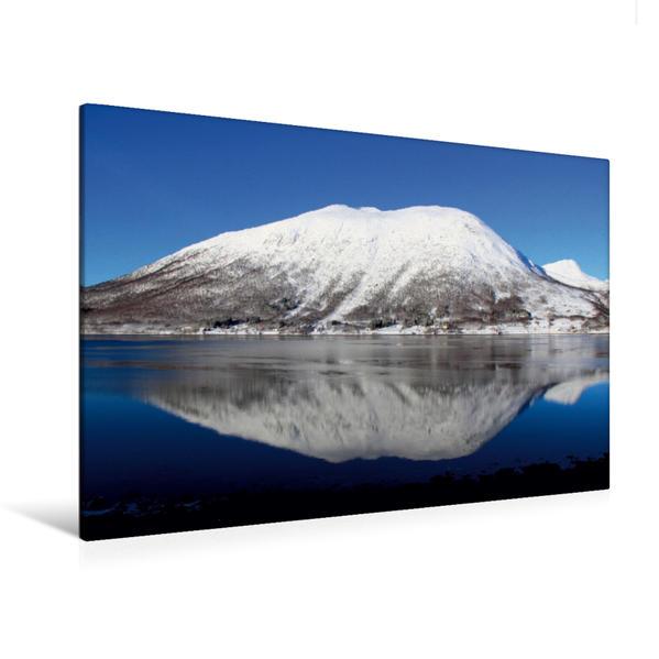 Premium Textil-Leinwand 120 cm x 80 cm quer, Impressionen von Norwegens Bergwelt im Winter | Wandbild, Bild auf Keilrahmen, Fertigbild auf echter Leinwand, Leinwanddruck - Coverbild