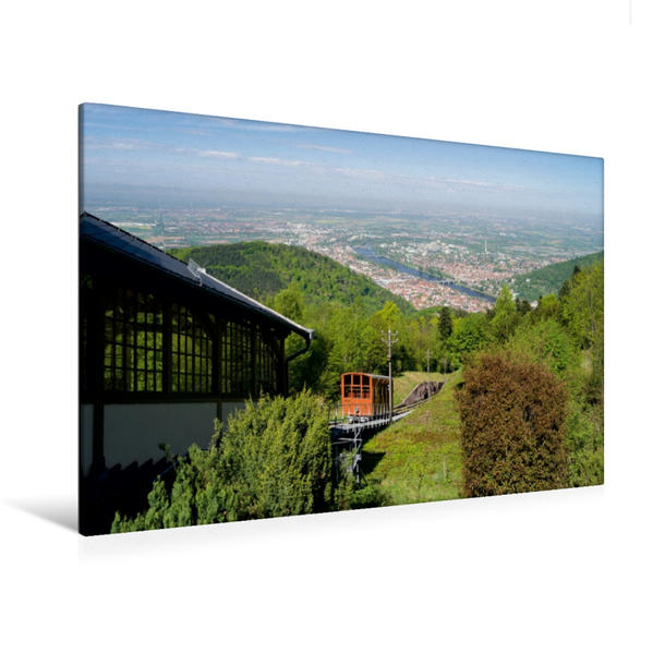 Premium Textil-Leinwand 120 cm x 80 cm quer, Blick vom Königstuhl in Heidelberg | Wandbild, Bild auf Keilrahmen, Fertigbild auf echter Leinwand, Leinwanddruck - Coverbild