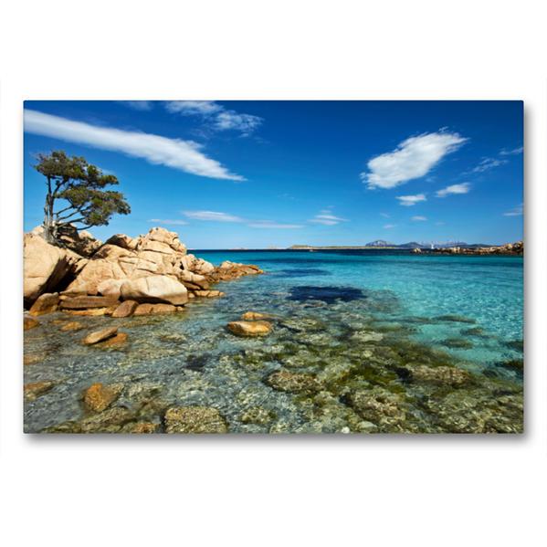 Premium Textil-Leinwand 90 cm x 60 cm quer, Costa Smeralda | Wandbild, Bild auf Keilrahmen, Fertigbild auf echter Leinwand, Leinwanddruck - Coverbild