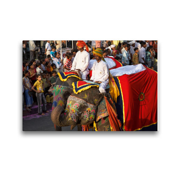 Premium Textil-Leinwand 45 cm x 30 cm quer, Gangaur Fest - Jaipur   Wandbild, Bild auf Keilrahmen, Fertigbild auf echter Leinwand, Leinwanddruck - Coverbild