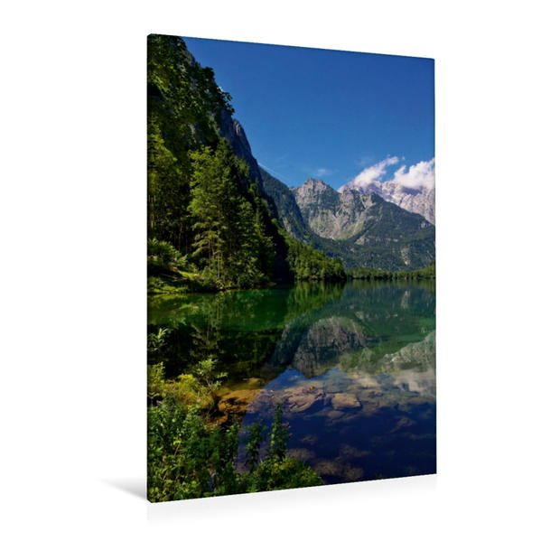 Premium Textil-Leinwand 80 cm x 120 cm  hoch, Bergimpression am Obersee   Wandbild, Bild auf Keilrahmen, Fertigbild auf echter Leinwand, Leinwanddruck - Coverbild