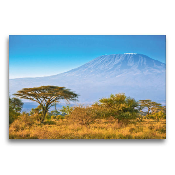 Premium Textil-Leinwand 75 cm x 50 cm quer, Kilimandscharo bei Sonnenaufgang | Wandbild, Bild auf Keilrahmen, Fertigbild auf echter Leinwand, Leinwanddruck - Coverbild