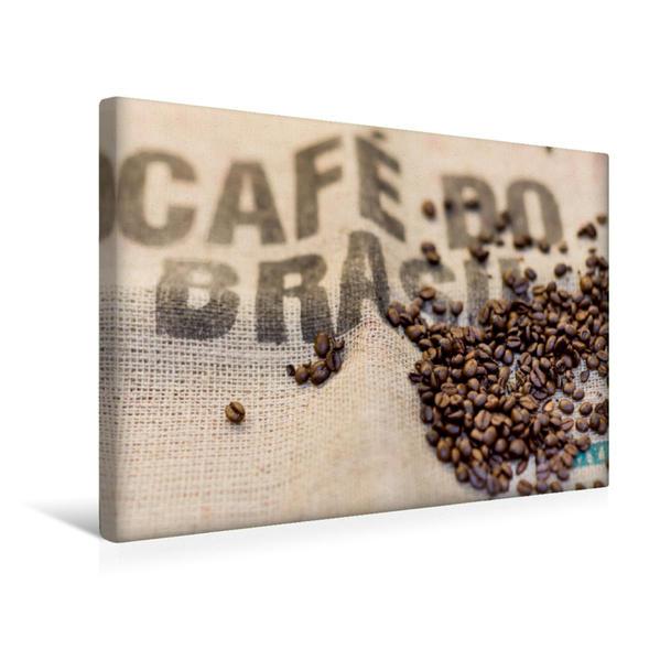 Premium Textil-Leinwand 45 cm x 30 cm quer, Guter Kaffee kommt aus Brasilien und aus vielen anderen exotischen Ländern. | Wandbild, Bild auf Keilrahmen, Fertigbild auf echter Leinwand, Leinwanddruck - Coverbild