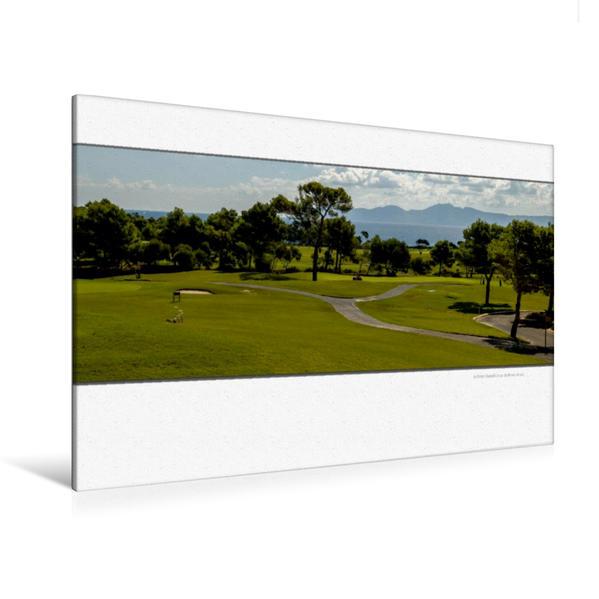 Premium Textil-Leinwand 120 cm x 80 cm quer, Ein Motiv aus dem Kalender Emotionale Momente: Die schönsten Golfplätze auf Mallorca. | Wandbild, Bild auf Keilrahmen, Fertigbild auf echter Leinwand, Leinwanddruck - Coverbild