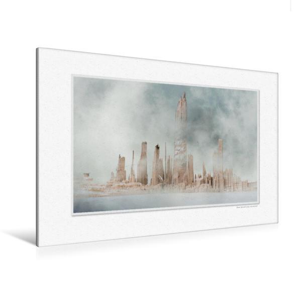 Premium Textil-Leinwand 120 cm x 80 cm quer, Ein Motiv aus dem Kalender Emotionale Momente: Die Skyline von New Wood City. | Wandbild, Bild auf Keilrahmen, Fertigbild auf echter Leinwand, Leinwanddruck - Coverbild