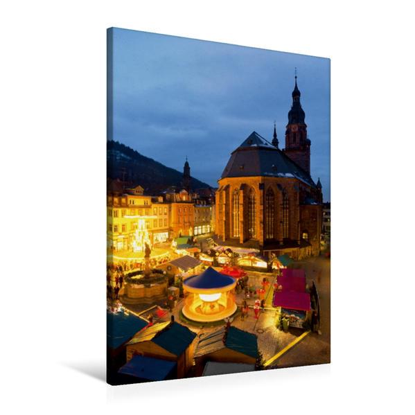 Premium Textil-Leinwand 60 cm x 90 cm hoch, Weihnachtsmarkt in Heidelberg | Wandbild, Bild auf Keilrahmen, Fertigbild auf echter Leinwand, Leinwanddruck - Coverbild