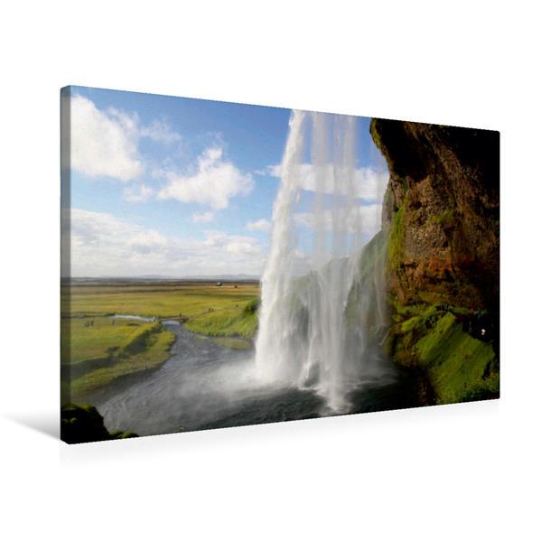 Premium Textil-Leinwand 75 cm x 50 cm quer, Hinter dem Wasserfall auf Island | Wandbild, Bild auf Keilrahmen, Fertigbild auf echter Leinwand, Leinwanddruck - Coverbild