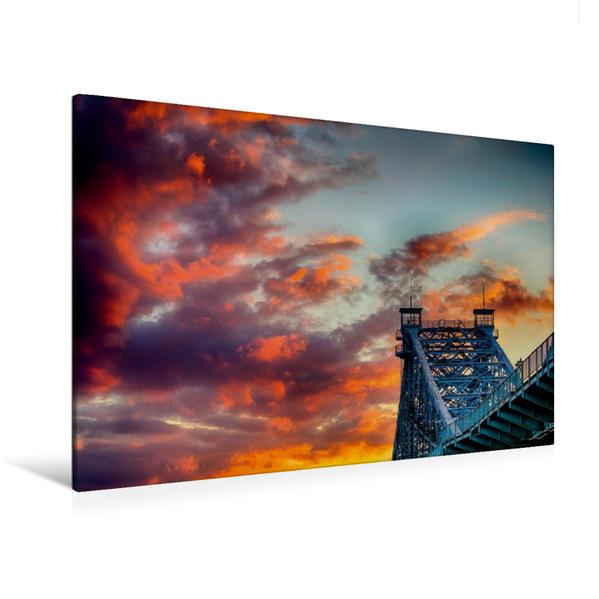 Premium Textil-Leinwand 120 cm x 80 cm quer, Sonnenuntergang Dresden an der Loschwitzer Brücke | Wandbild, Bild auf Keilrahmen, Fertigbild auf echter Leinwand, Leinwanddruck - Coverbild