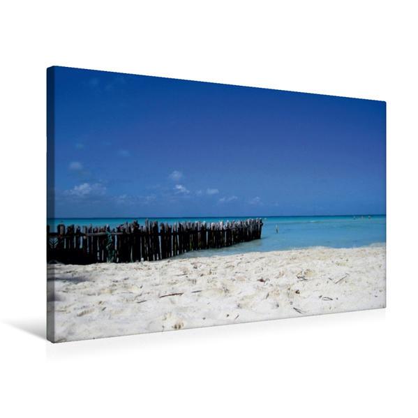 Premium Textil-Leinwand 75 cm x 50 cm quer, Playa Norte, der Traumstrand im Norden von Isla Mujeres | Wandbild, Bild auf Keilrahmen, Fertigbild auf echter Leinwand, Leinwanddruck - Coverbild