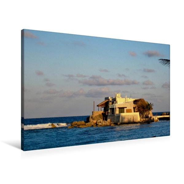 Premium Textil-Leinwand 90 cm x 60 cm quer, Das Haus im Meer in der Karibik | Wandbild, Bild auf Keilrahmen, Fertigbild auf echter Leinwand, Leinwanddruck - Coverbild