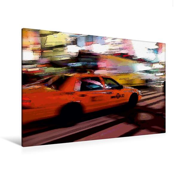 Premium Textil-Leinwand 120 cm x 80 cm quer, Taxi in New York | Wandbild, Bild auf Keilrahmen, Fertigbild auf echter Leinwand, Leinwanddruck - Coverbild