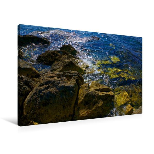 Premium Textil-Leinwand 90 cm x 60 cm quer, Meeresbrandung in Vrsar. | Wandbild, Bild auf Keilrahmen, Fertigbild auf echter Leinwand, Leinwanddruck - Coverbild
