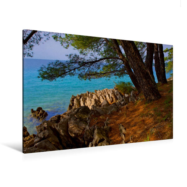 Premium Textil-Leinwand 120 cm x 80 cm quer, Küste von Malinska | Wandbild, Bild auf Keilrahmen, Fertigbild auf echter Leinwand, Leinwanddruck - Coverbild