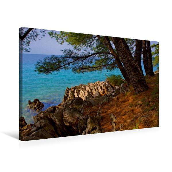 Premium Textil-Leinwand 75 cm x 50 cm quer, Küste von Malinska | Wandbild, Bild auf Keilrahmen, Fertigbild auf echter Leinwand, Leinwanddruck - Coverbild