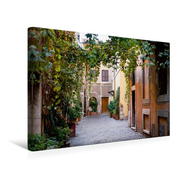 Premium Textil-Leinwand 45 cm x 30 cm quer, Stille Gasse in Trestevere | Wandbild, Bild auf Keilrahmen, Fertigbild auf echter Leinwand, Leinwanddruck - Coverbild