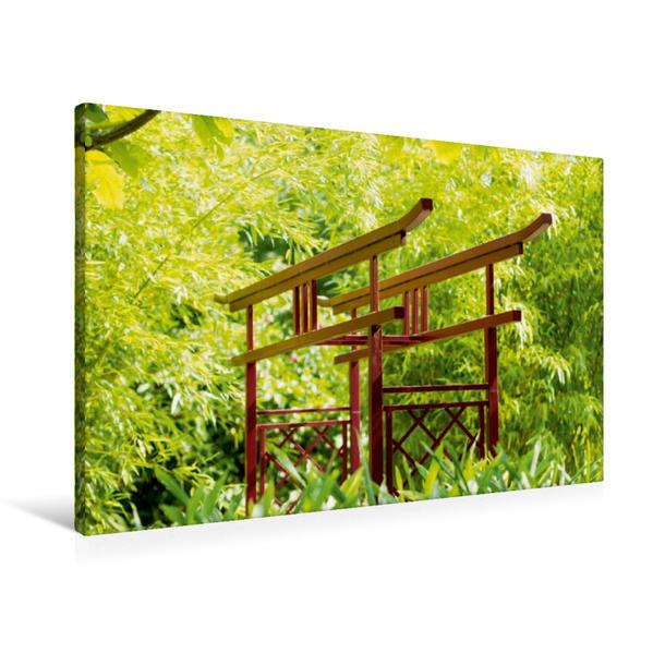 Premium Textil-Leinwand 90 cm x 60 cm quer, Japanischer Garten   Wandbild, Bild auf Keilrahmen, Fertigbild auf echter Leinwand, Leinwanddruck - Coverbild