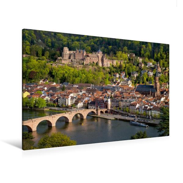 Premium Textil-Leinwand 120 cm x 80 cm quer, Blick vom Philosophenweg auf Heidelberg | Wandbild, Bild auf Keilrahmen, Fertigbild auf echter Leinwand, Leinwanddruck - Coverbild