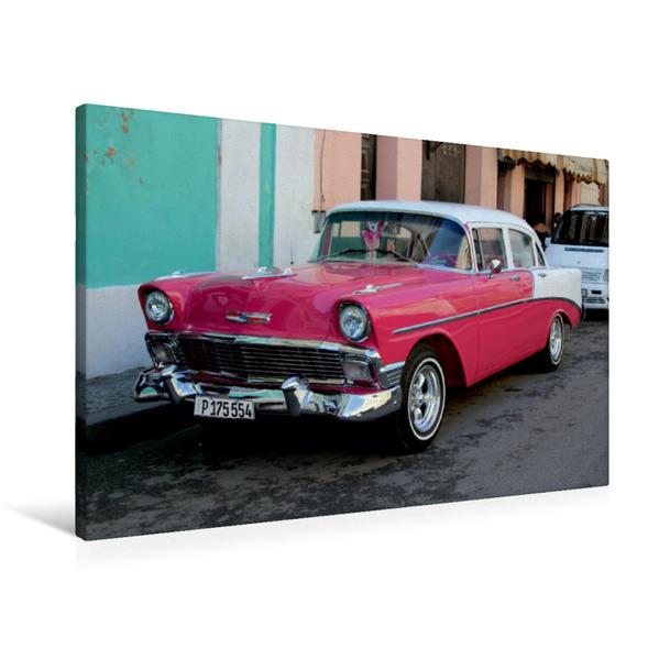 Premium Textil-Leinwand 90 cm x 60 cm quer, Ein Motiv aus dem Kalender Oldtimerträume auf KUBA | Wandbild, Bild auf Keilrahmen, Fertigbild auf echter Leinwand, Leinwanddruck - Coverbild