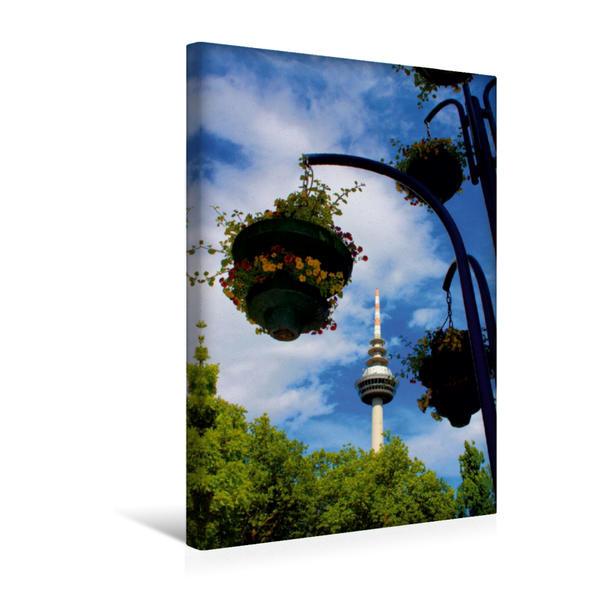Premium Textil-Leinwand 30 cm x 45 cm hoch, Ein Motiv aus dem Kalender Fernmeldeturm Mannheim | Wandbild, Bild auf Keilrahmen, Fertigbild auf echter Leinwand, Leinwanddruck - Coverbild