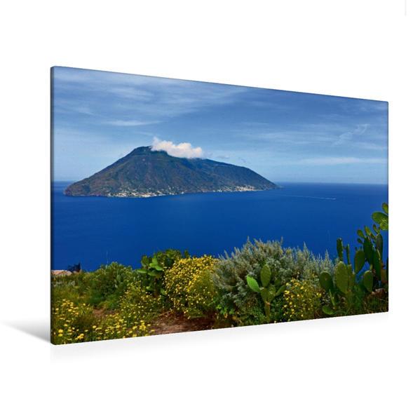 Premium Textil-Leinwand 120 cm x 80 cm quer, Blick von Lipari zur Insel Salina | Wandbild, Bild auf Keilrahmen, Fertigbild auf echter Leinwand, Leinwanddruck - Coverbild